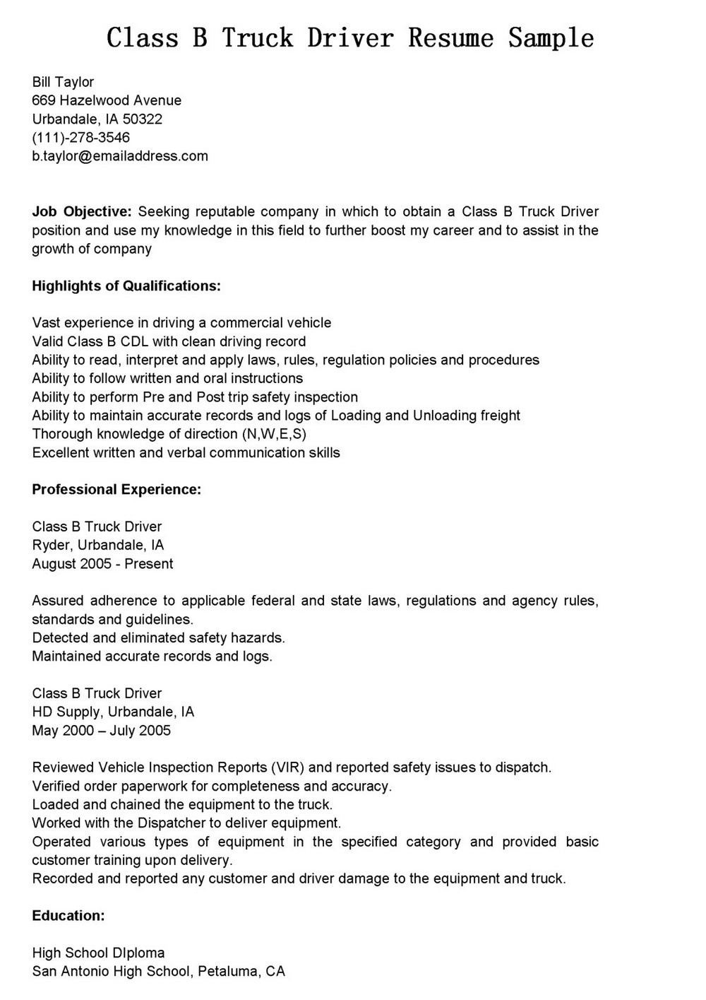 Truck Driver Resume Format