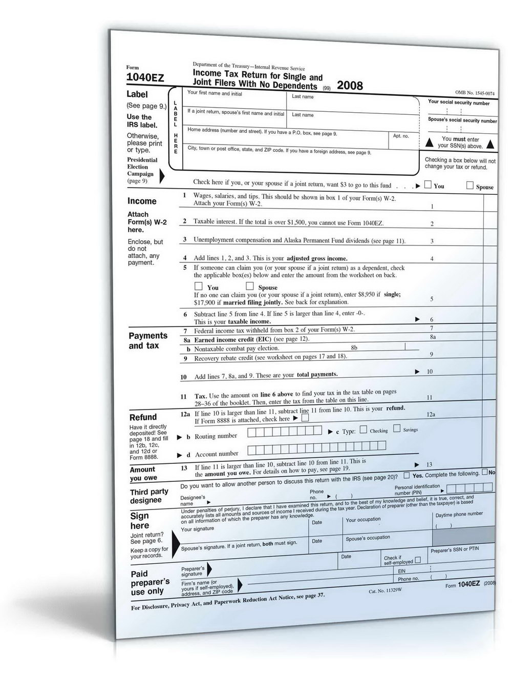 1040ez Tax Form Example