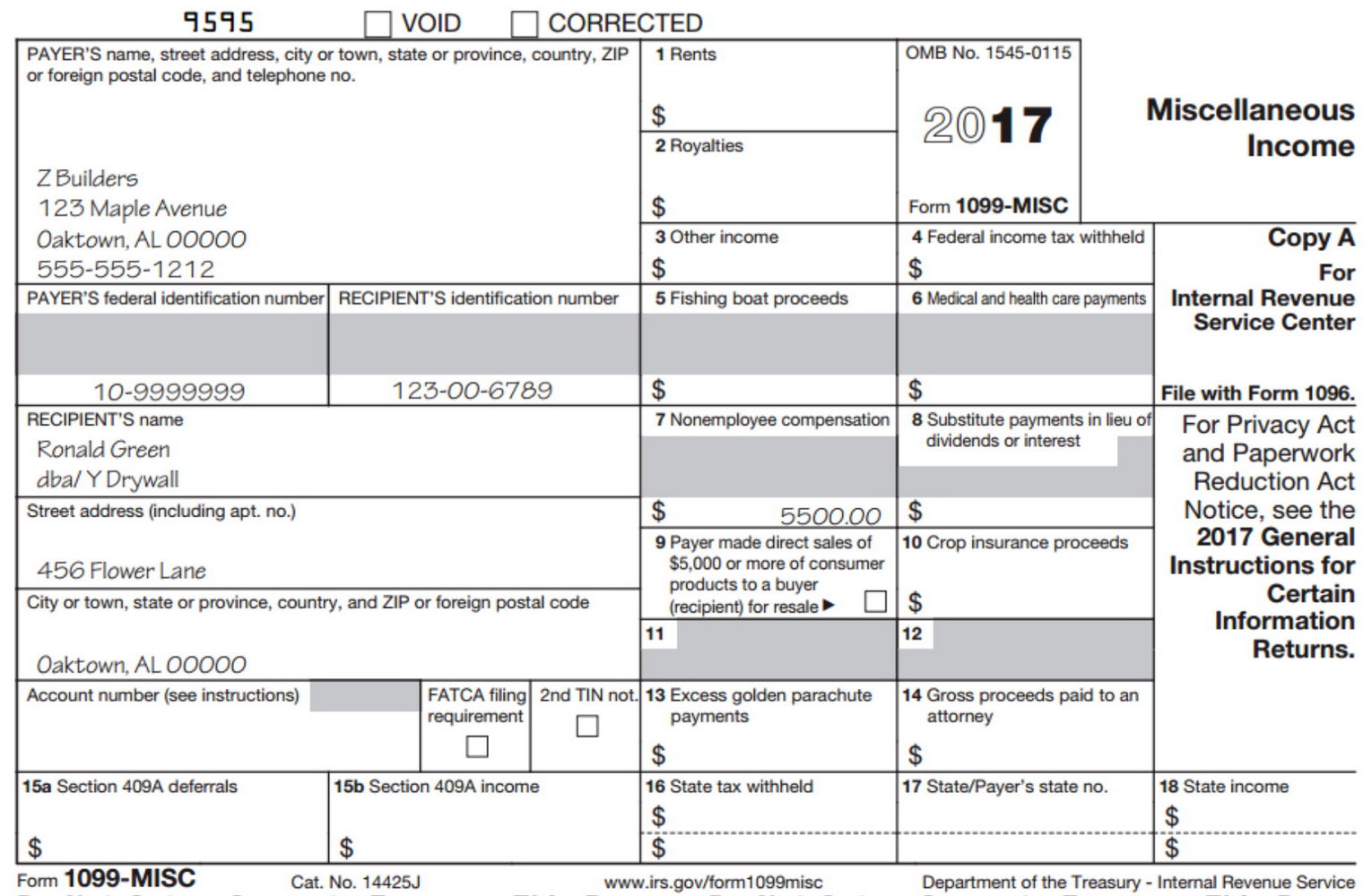 1099 Misc Form 2017 Irs