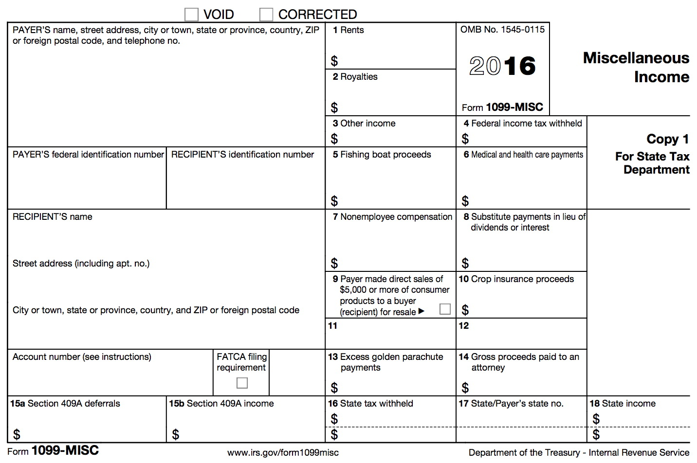 1099 Misc Form Fillable