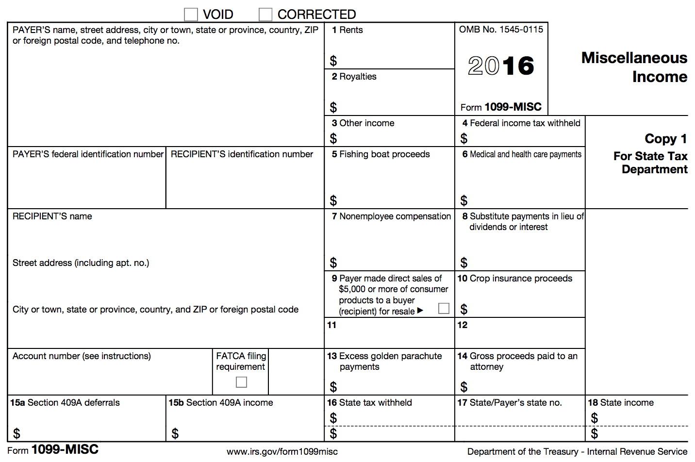1099 Tax Form 2016