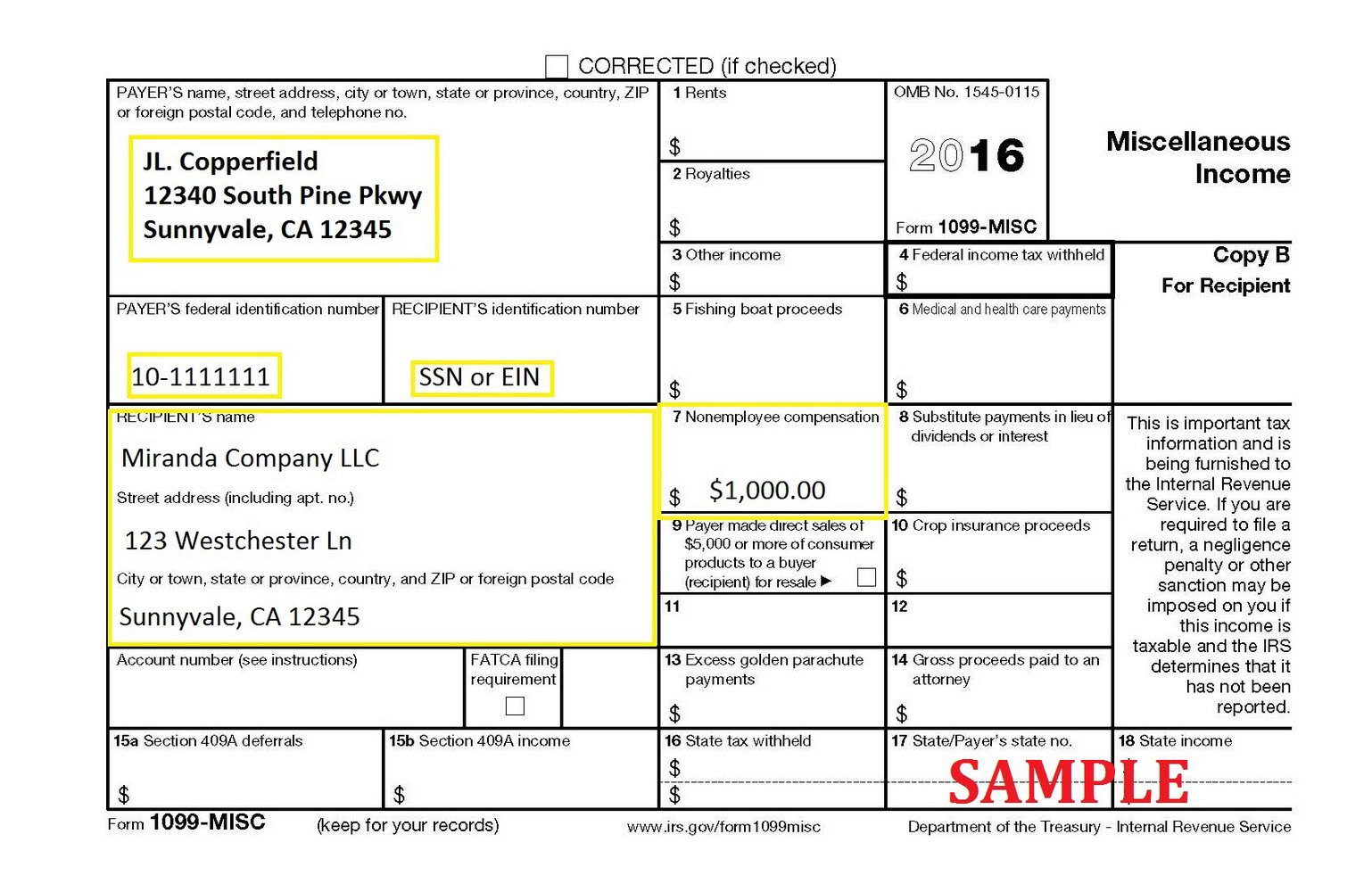 2016 Form 1099 Misc