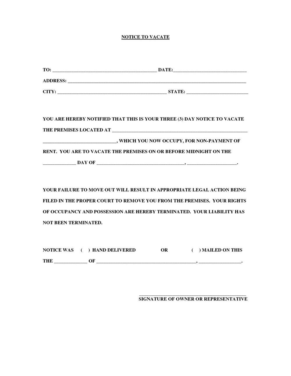 30 Day Eviction Notice Form Ny