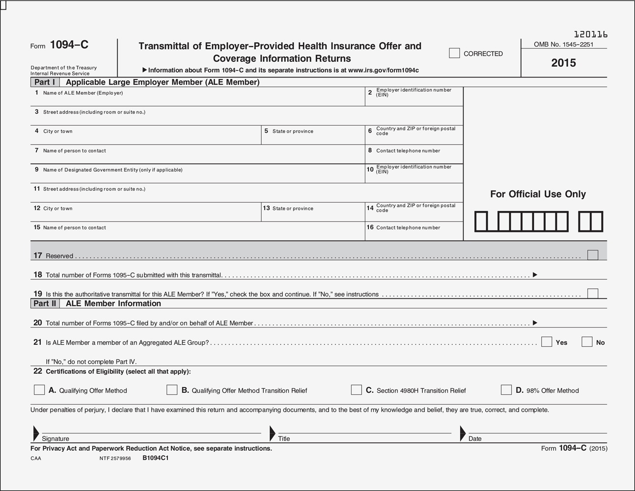 Aca Tax Forms For Employers