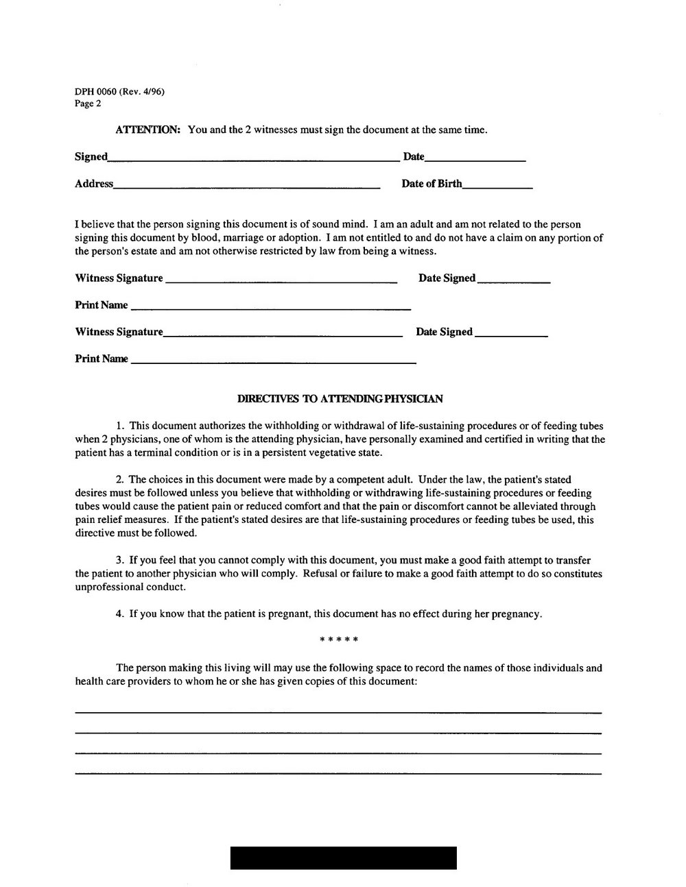 Advance Healthcare Directive Form California