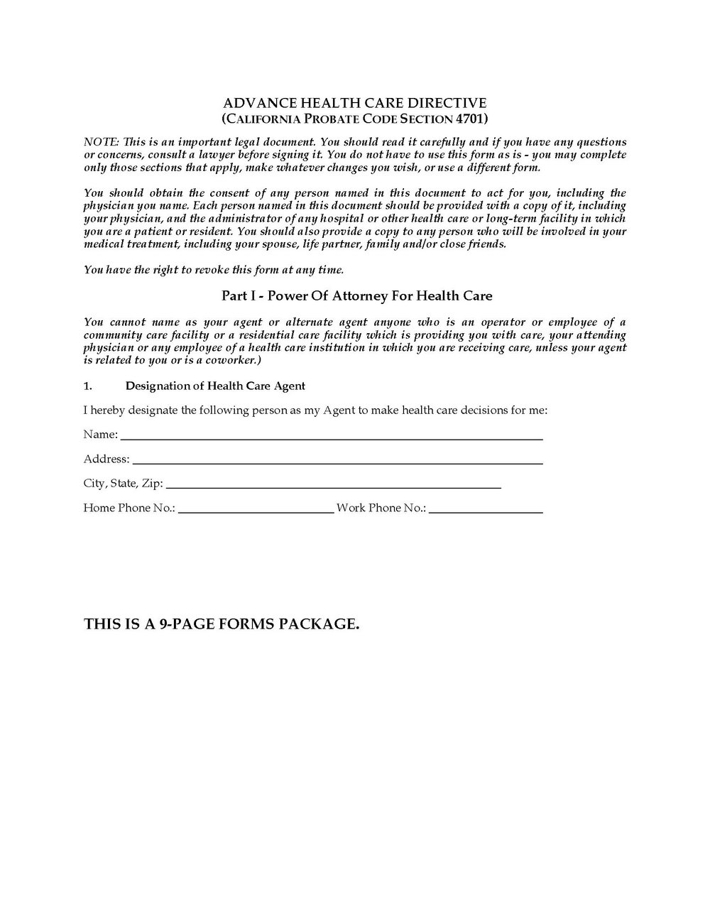 Advance Healthcare Directive Form Kansas