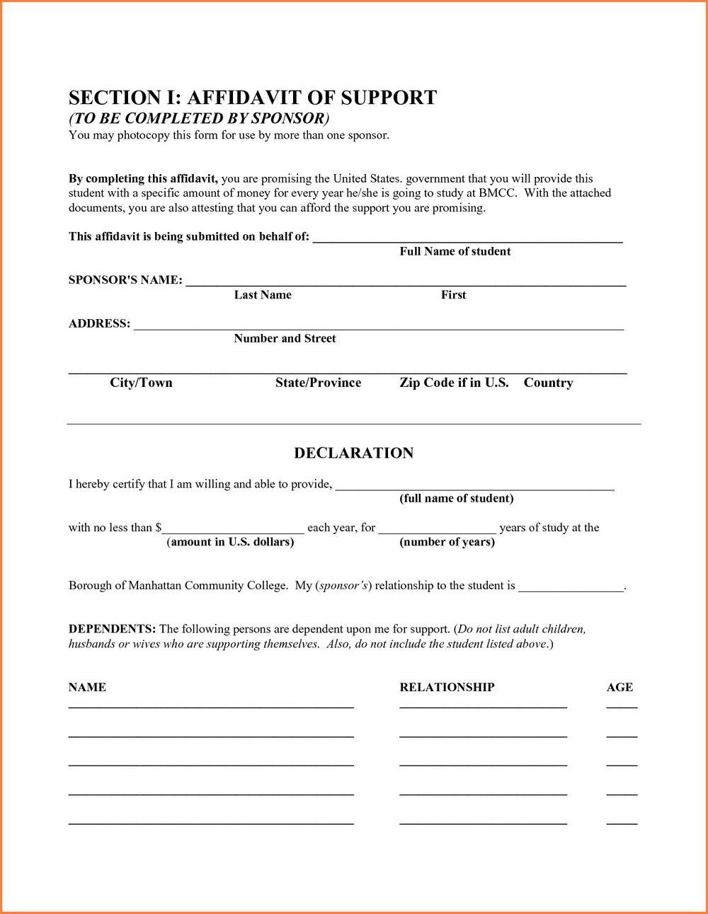 Affidavit Of Domicile Form Illinois