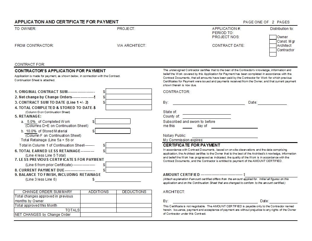 Aia Form G702 Template