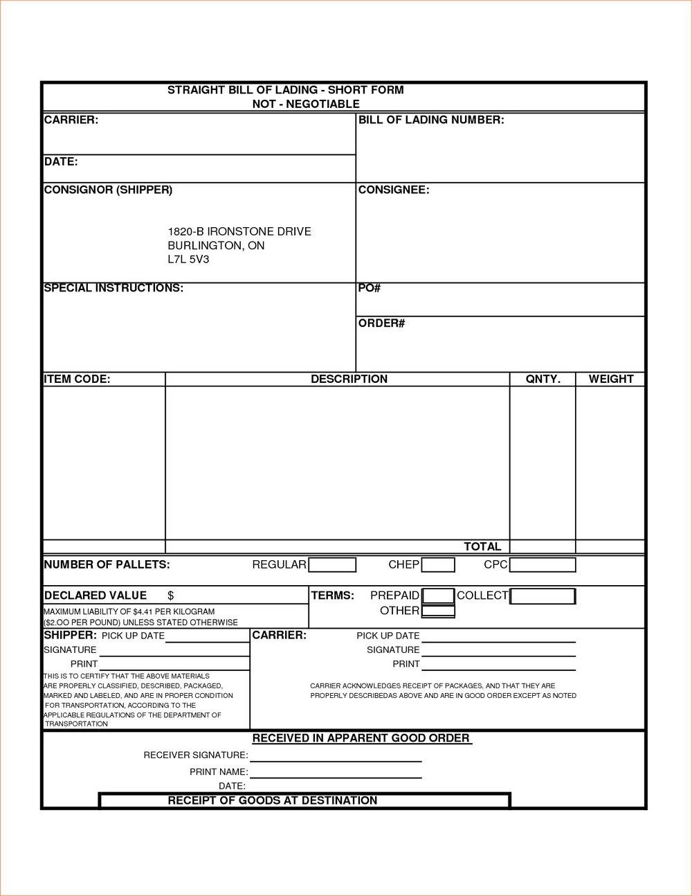 Bill Of Lading Format