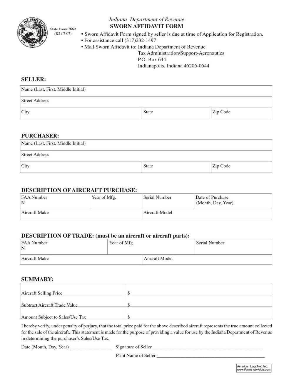 Blank Affidavit Form Australia