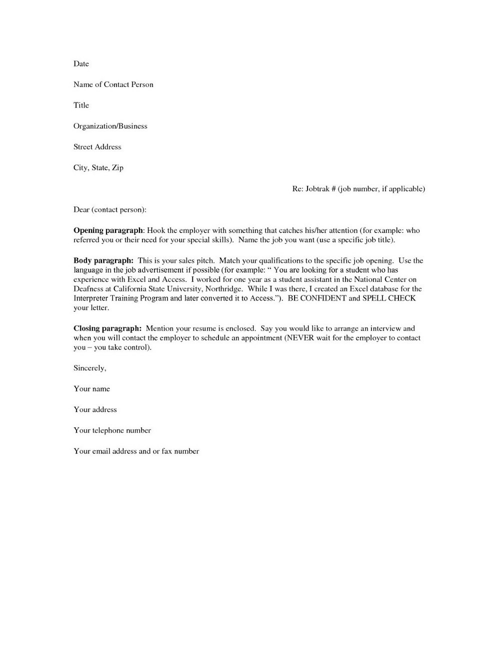 Cover Letter For Resume Template Free