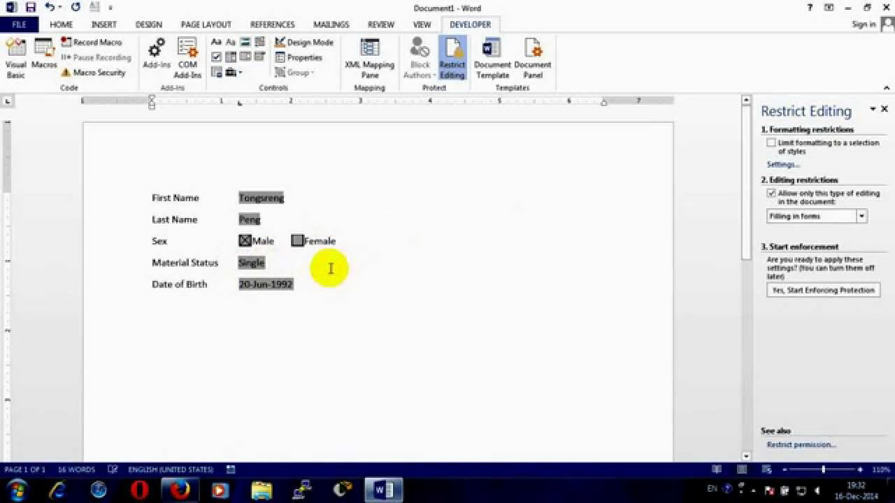 Create A Fillable Form In Word 2010