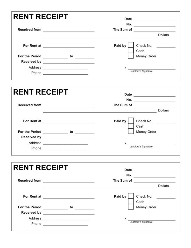 Free Rent Receipt Template Pdf | Word | Eforms – Free F
