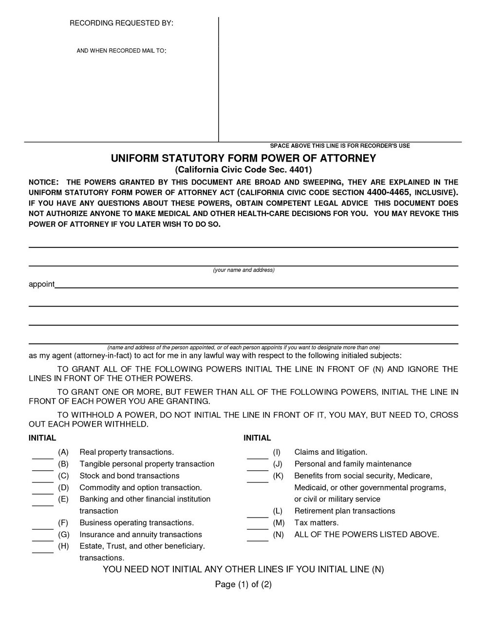 Durable Power Of Attorney Forms Ohio