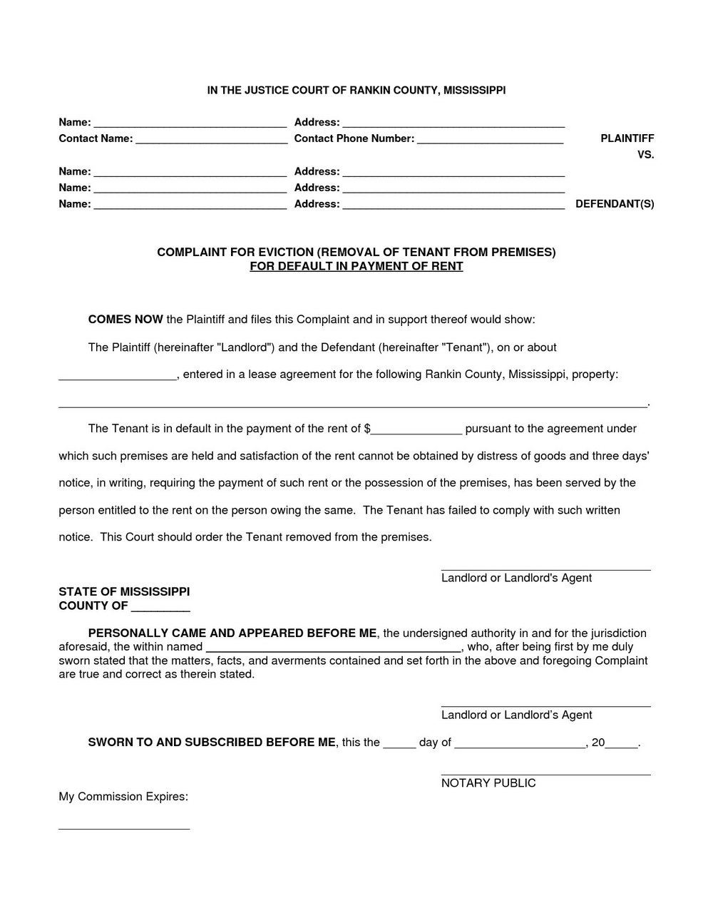 Eviction Notice Form Pdf