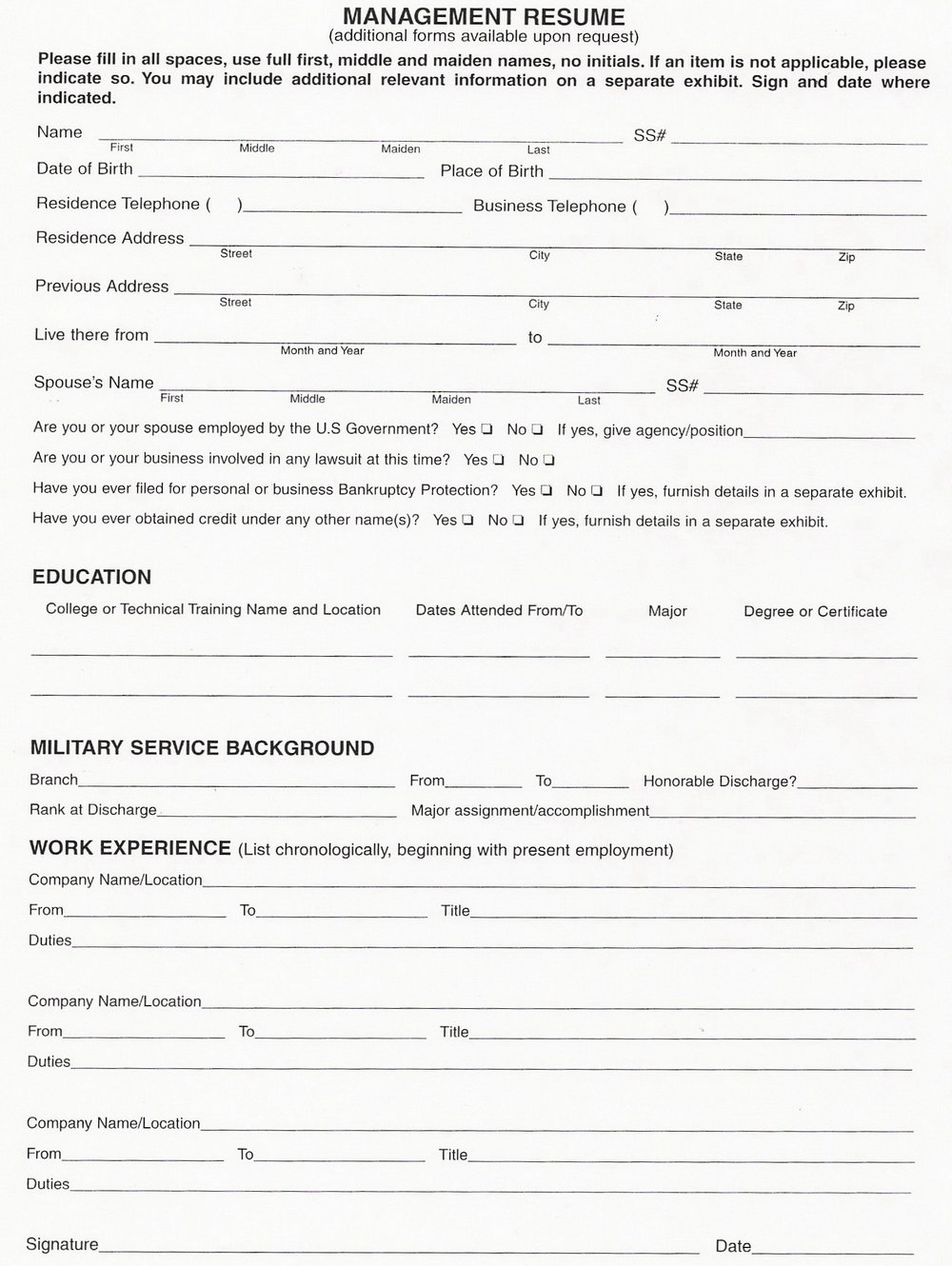 Free Blank Resume Forms