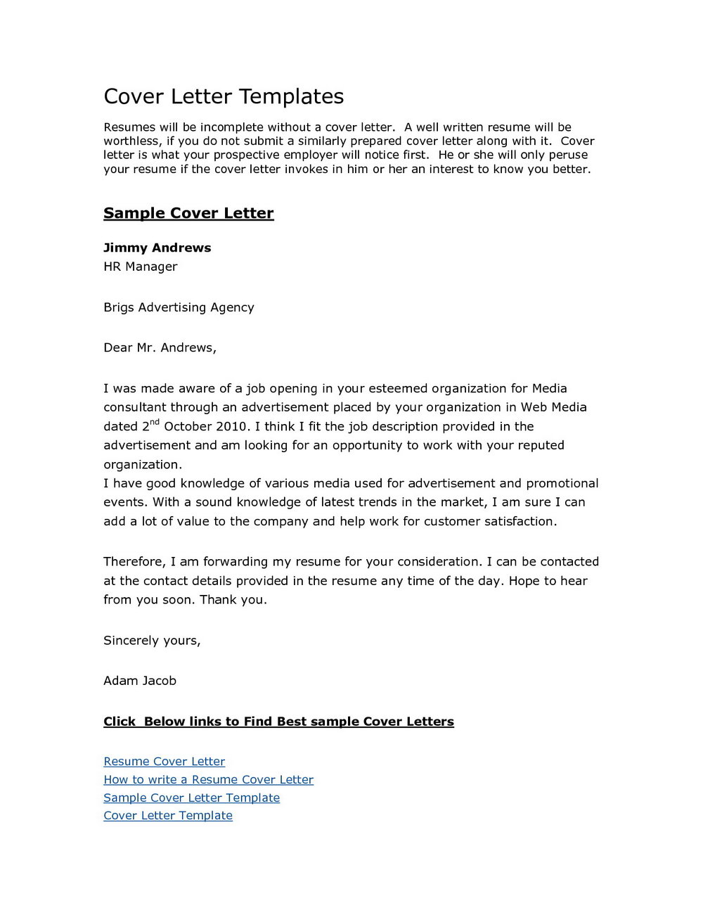 Free Cover Letter Sample