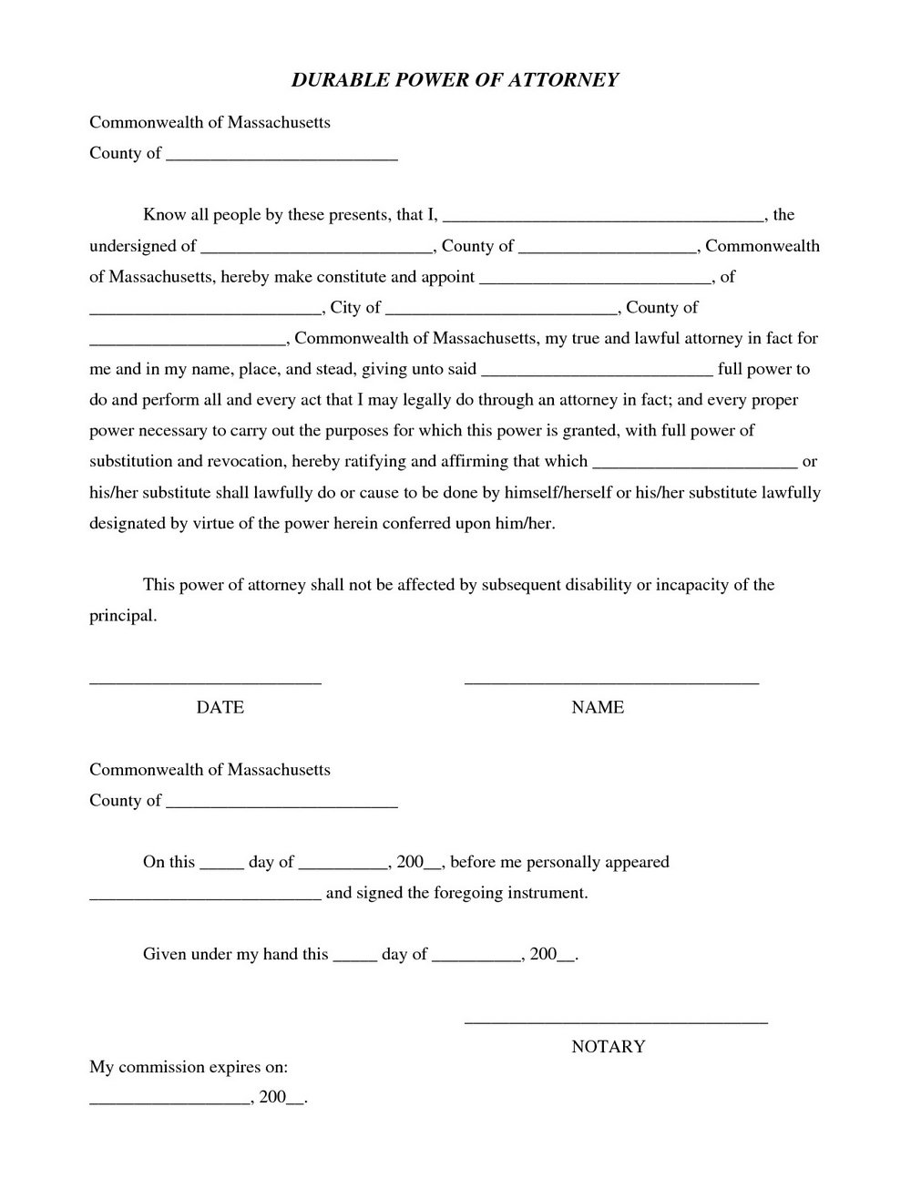 Free Durable Power Of Attorney Form California