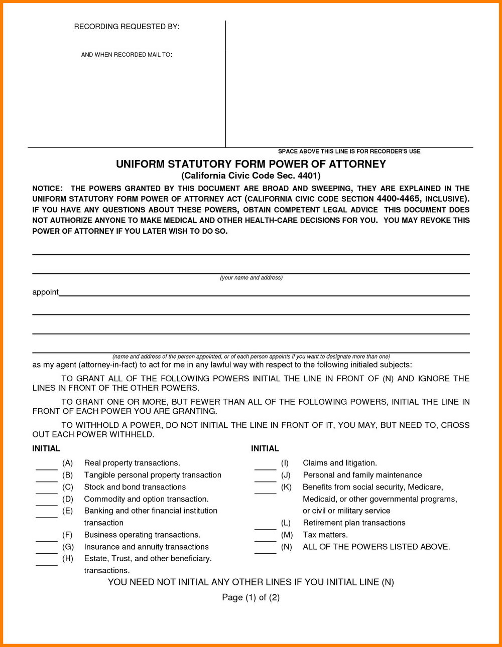 Free Durable Power Of Attorney Form Michigan