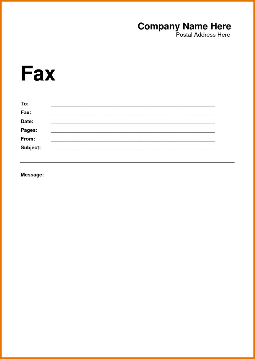Free Fax Cover Letter Printable