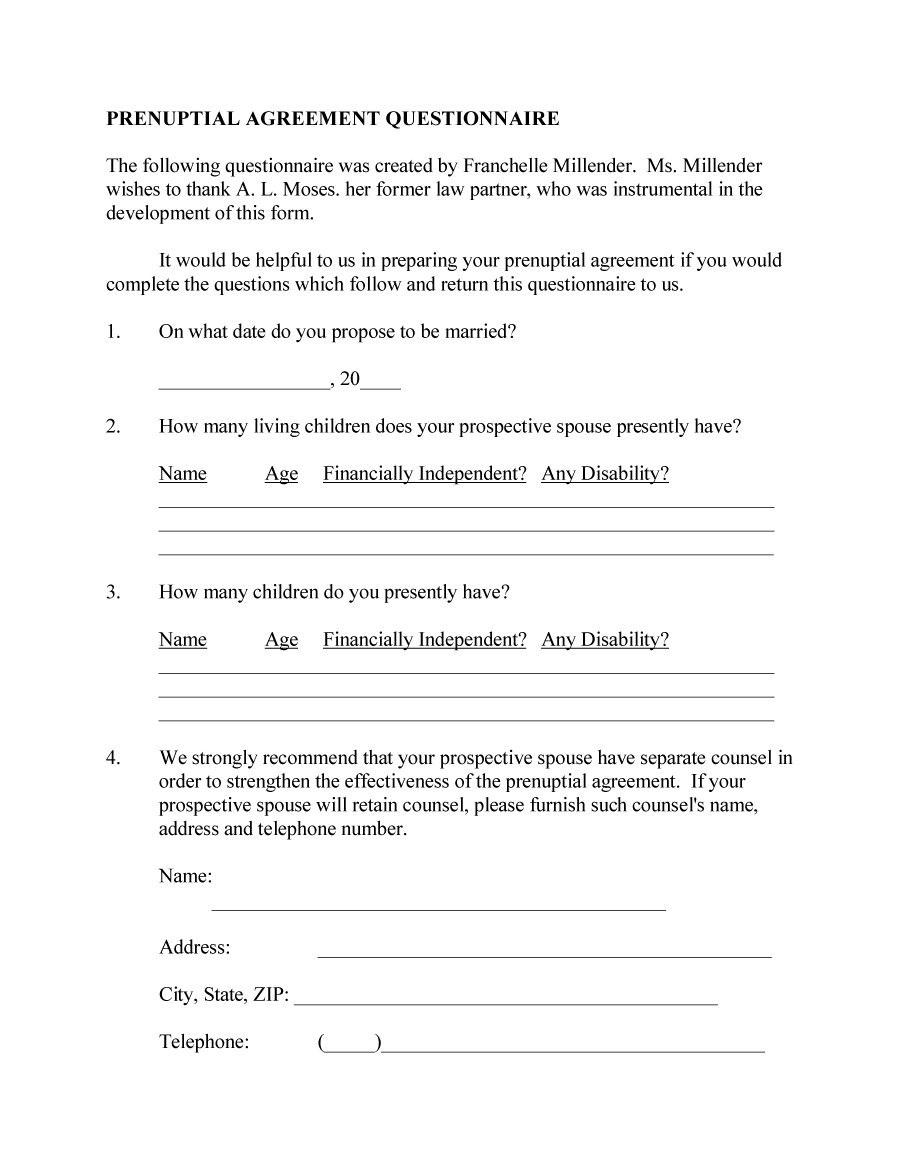 Free Printable Prenuptial Agreement Form Forms Mzy5mq