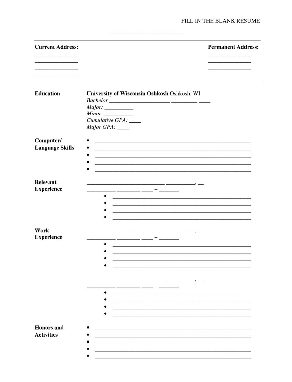 Free Resume Builder And Print Out