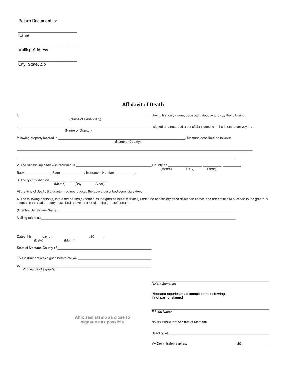 Free Small Estate Affidavit Form Indiana