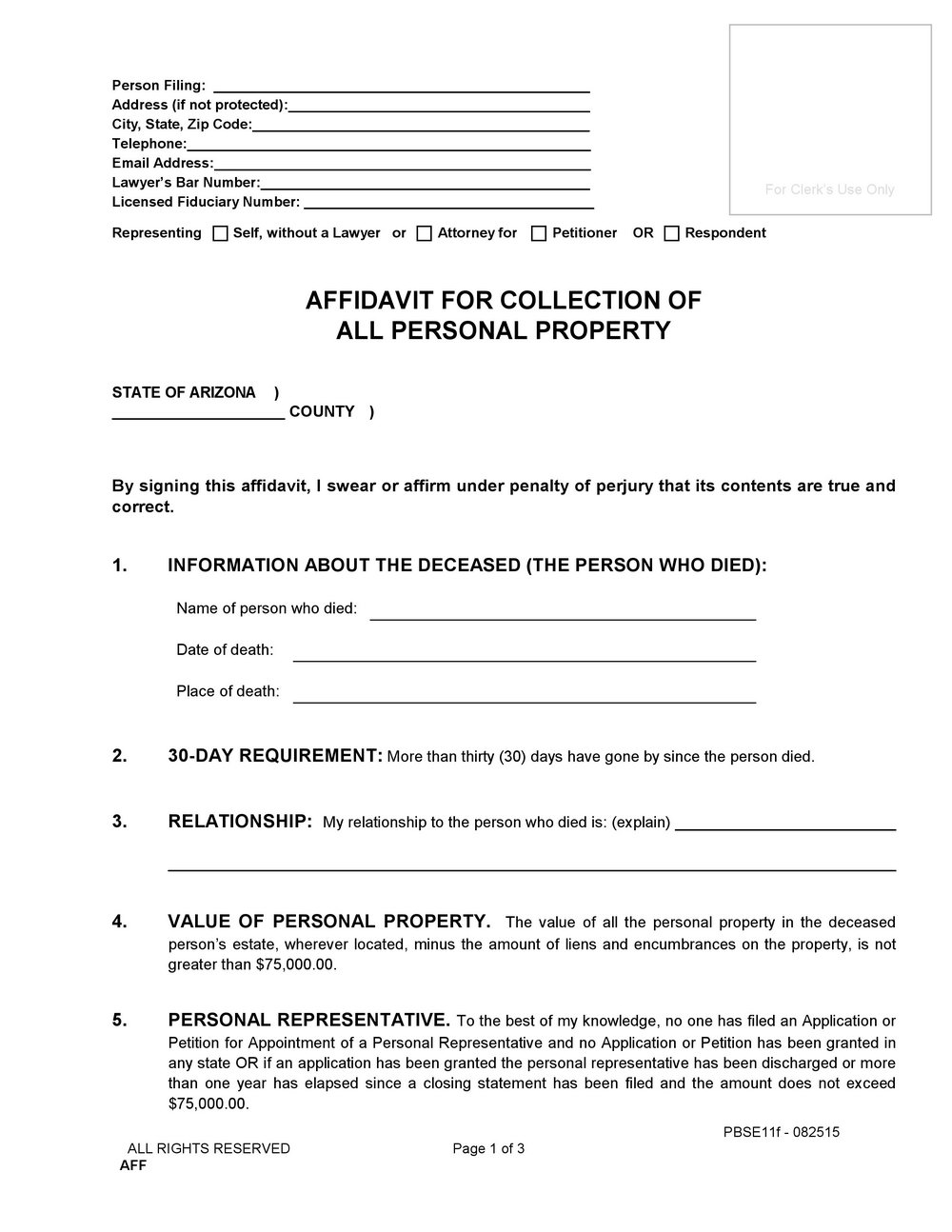 Free Small Estate Affidavit Form