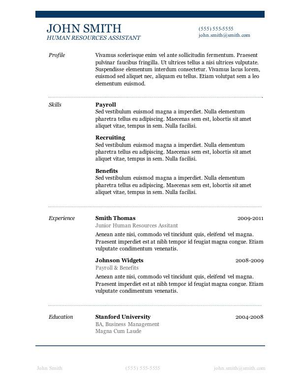 Free Student Resume Templates Microsoft Word