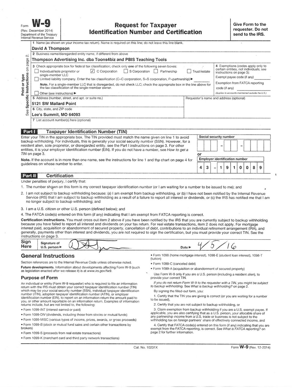Free W9 Form Print