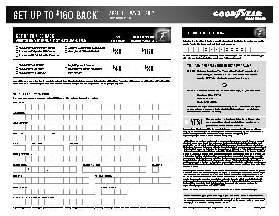 Goodyear Rebate Form