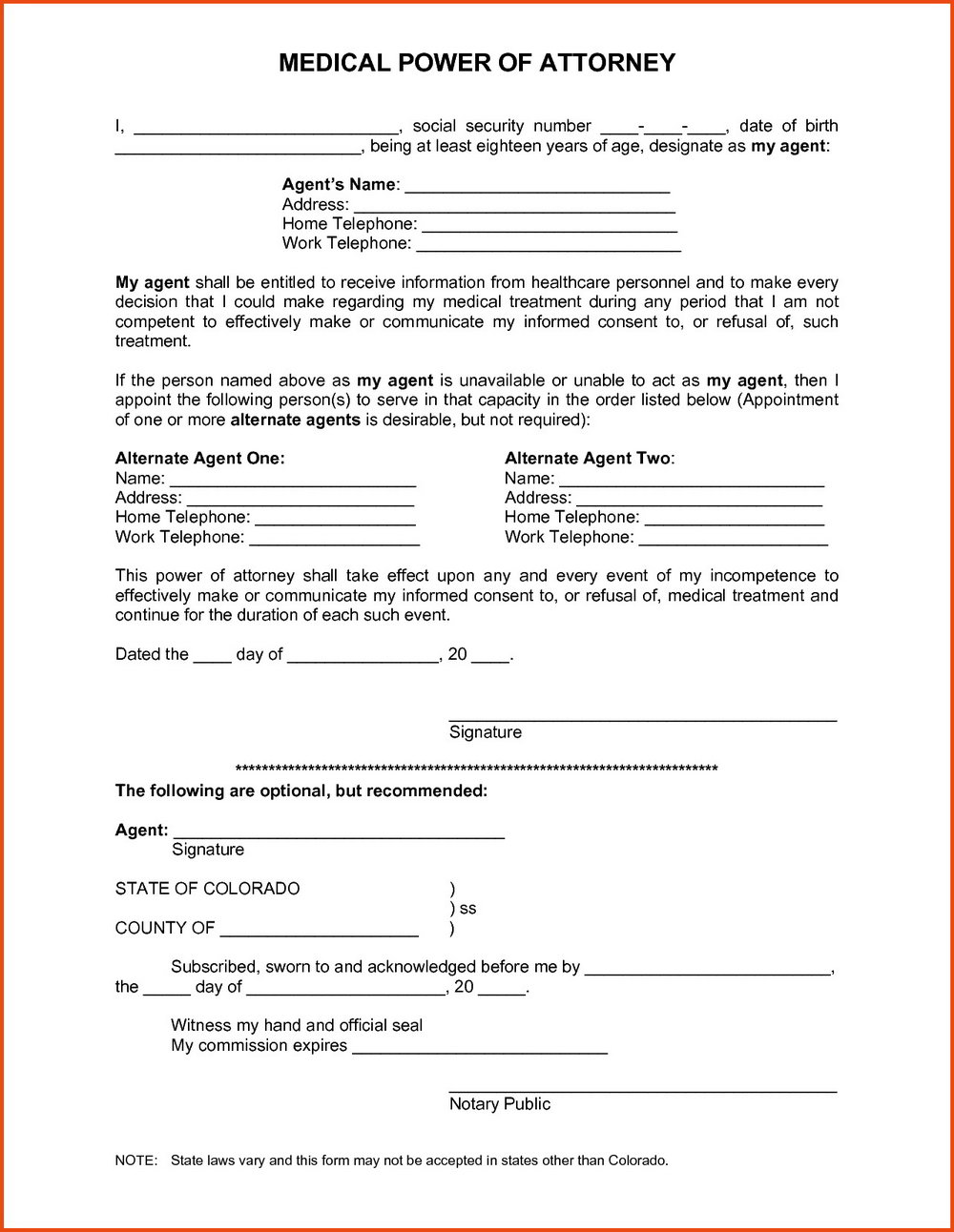 Health Care Power Of Attorney Form Nc
