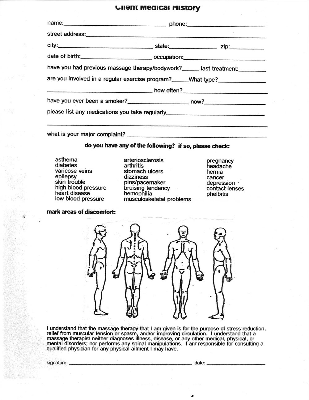 Massage Therapy Client Intake Form Template