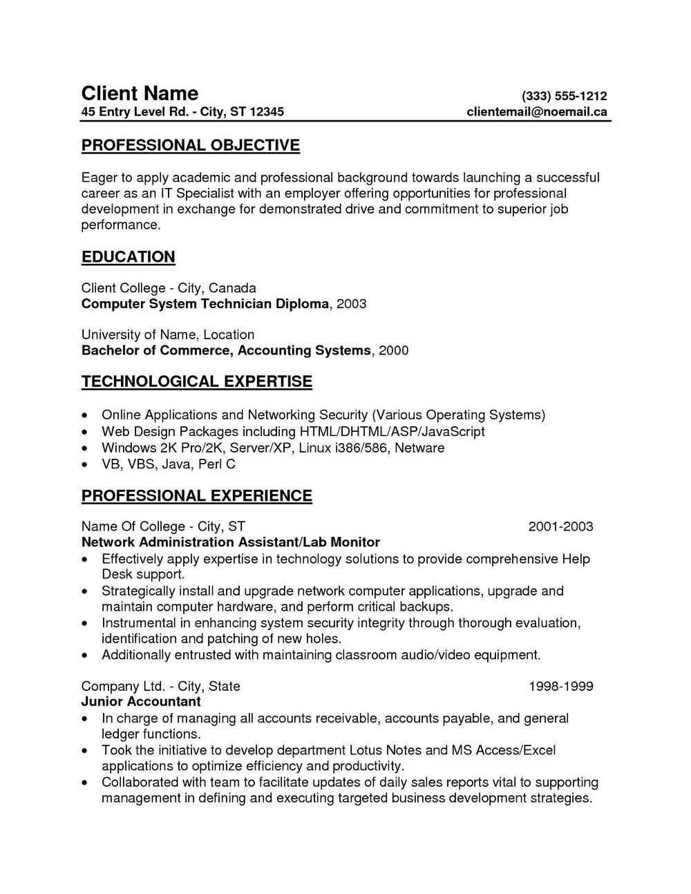 New Resume Format For Freshers 2017