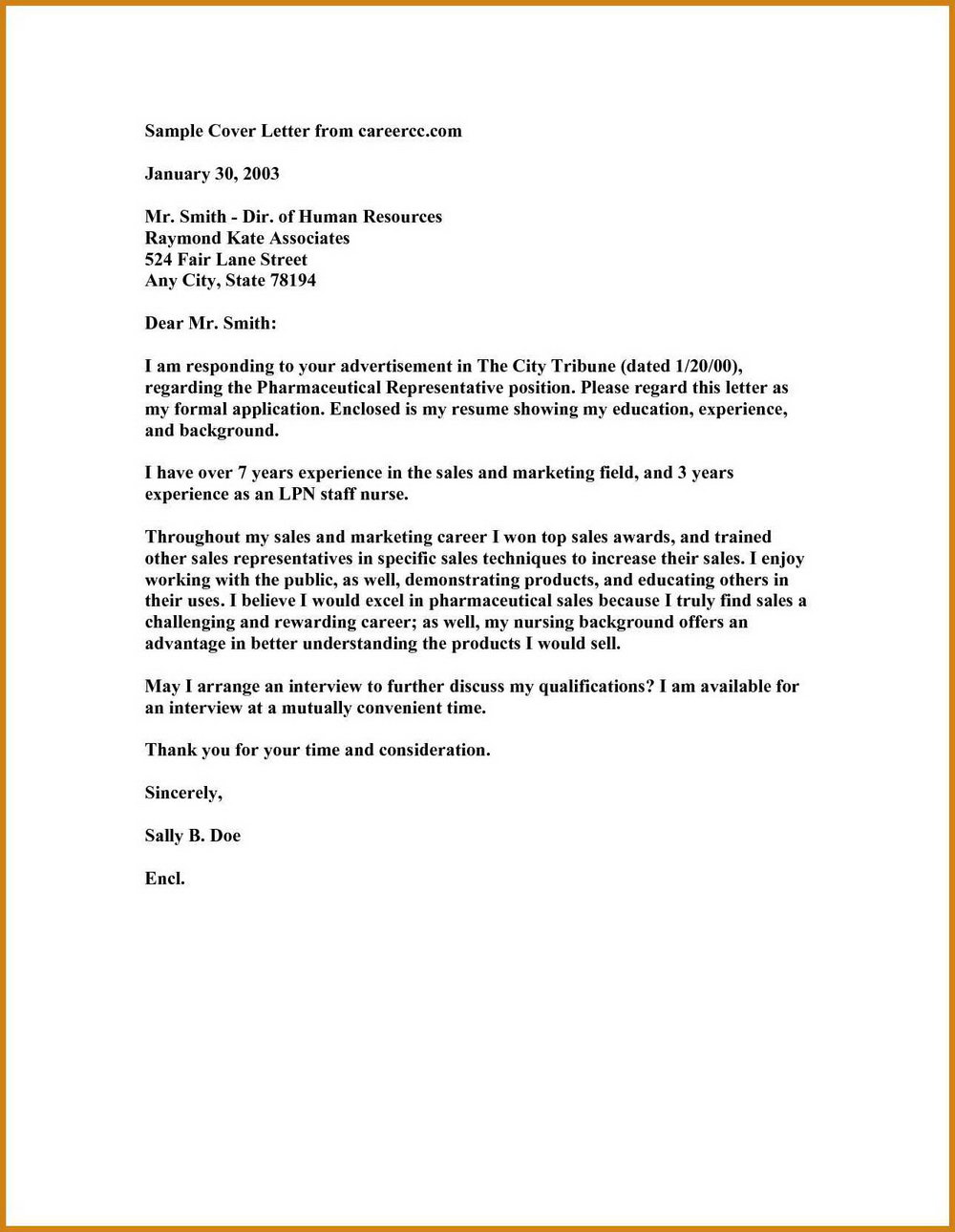Nursing Cover Letter Template Free