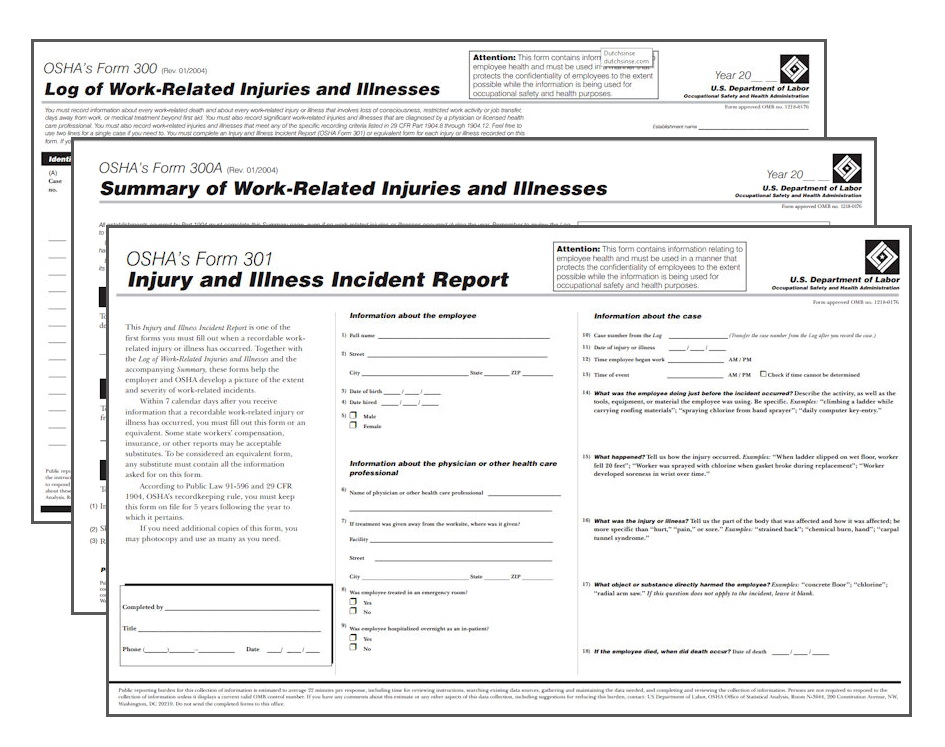 Osha 300a Form Sample
