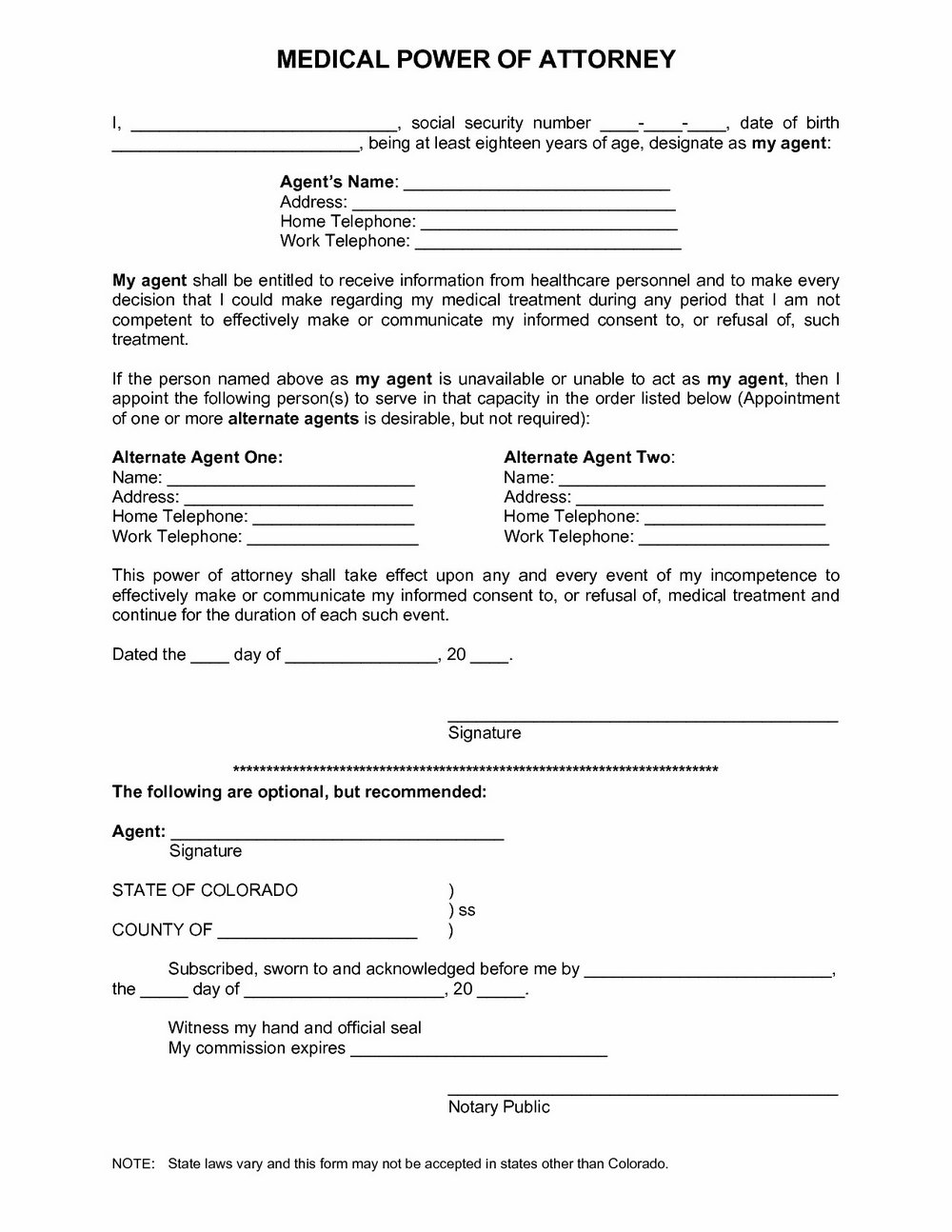Power Of Attorney Form Az Pdf