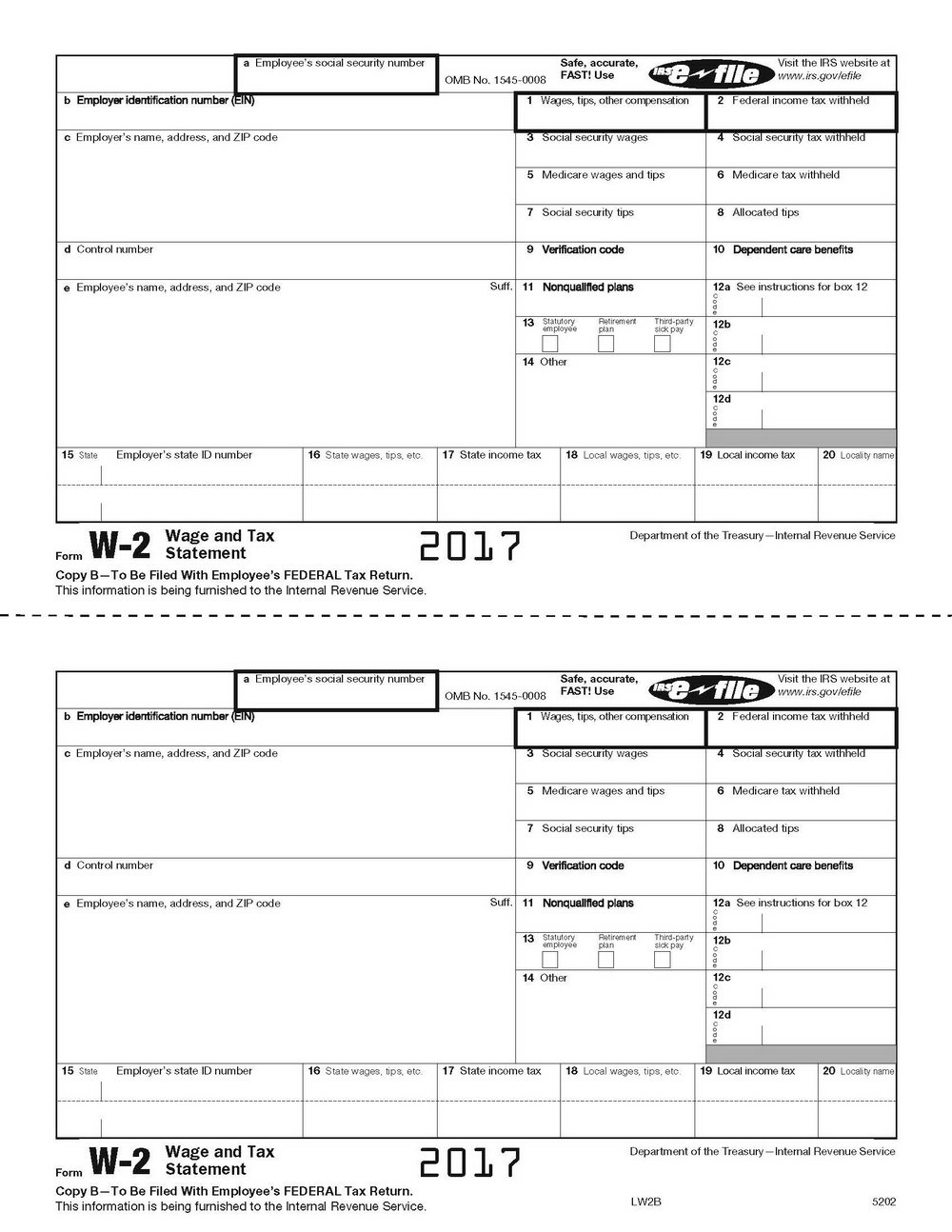 Printable W2 Form For Employers