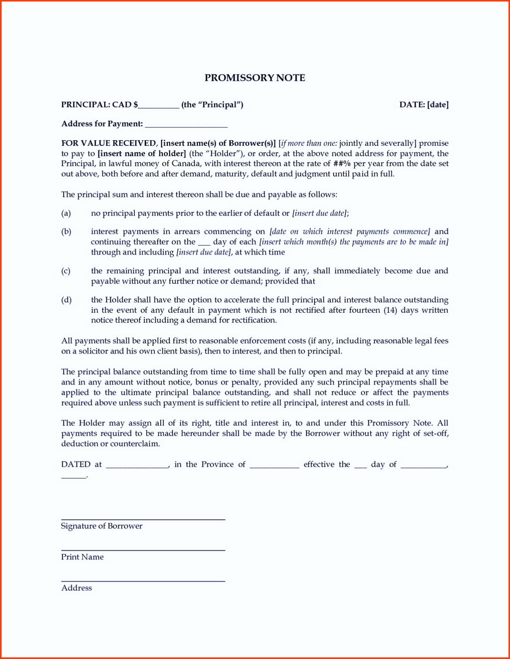 Promissory Note Format India Doc
