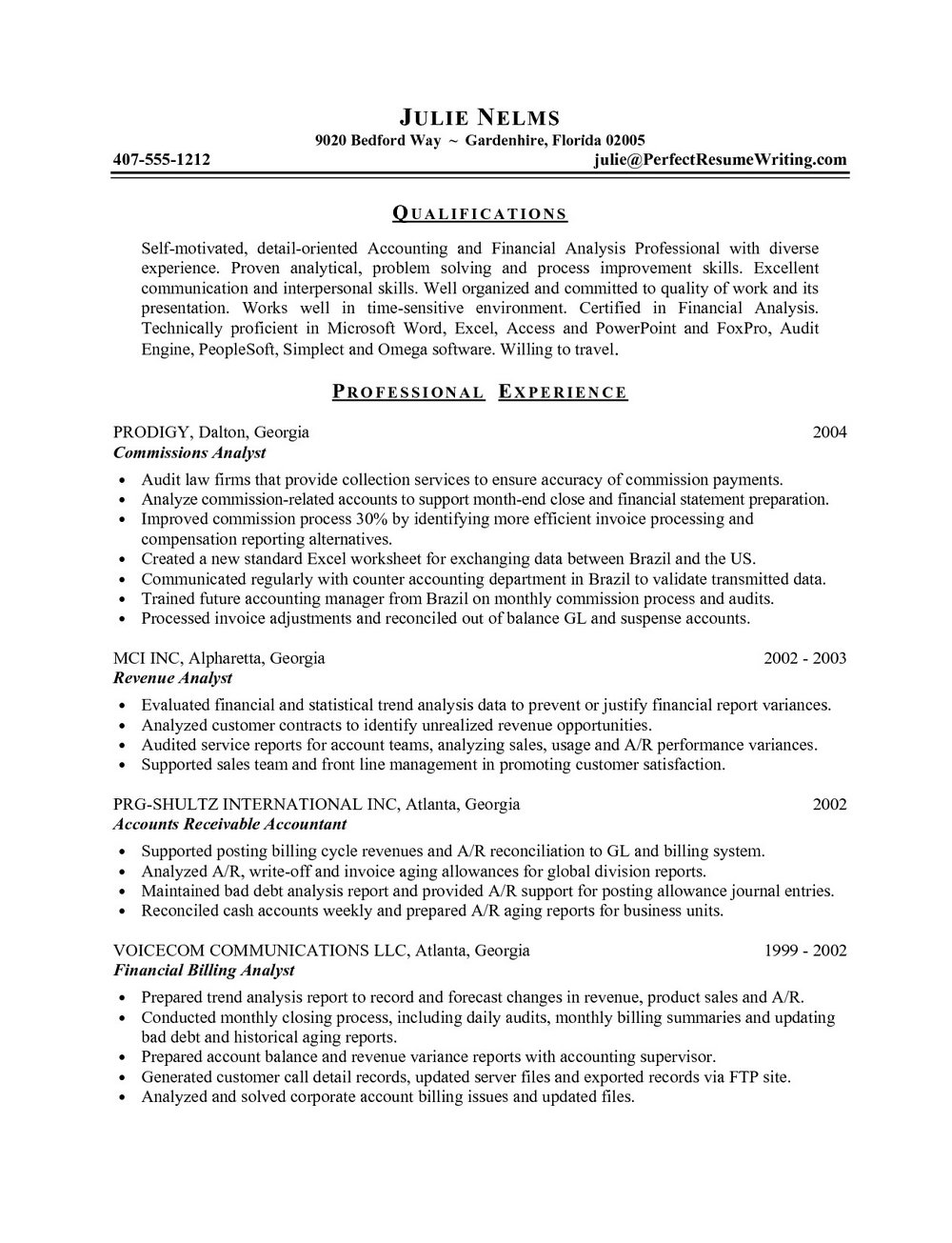 Resume Samples For Finance Professionals
