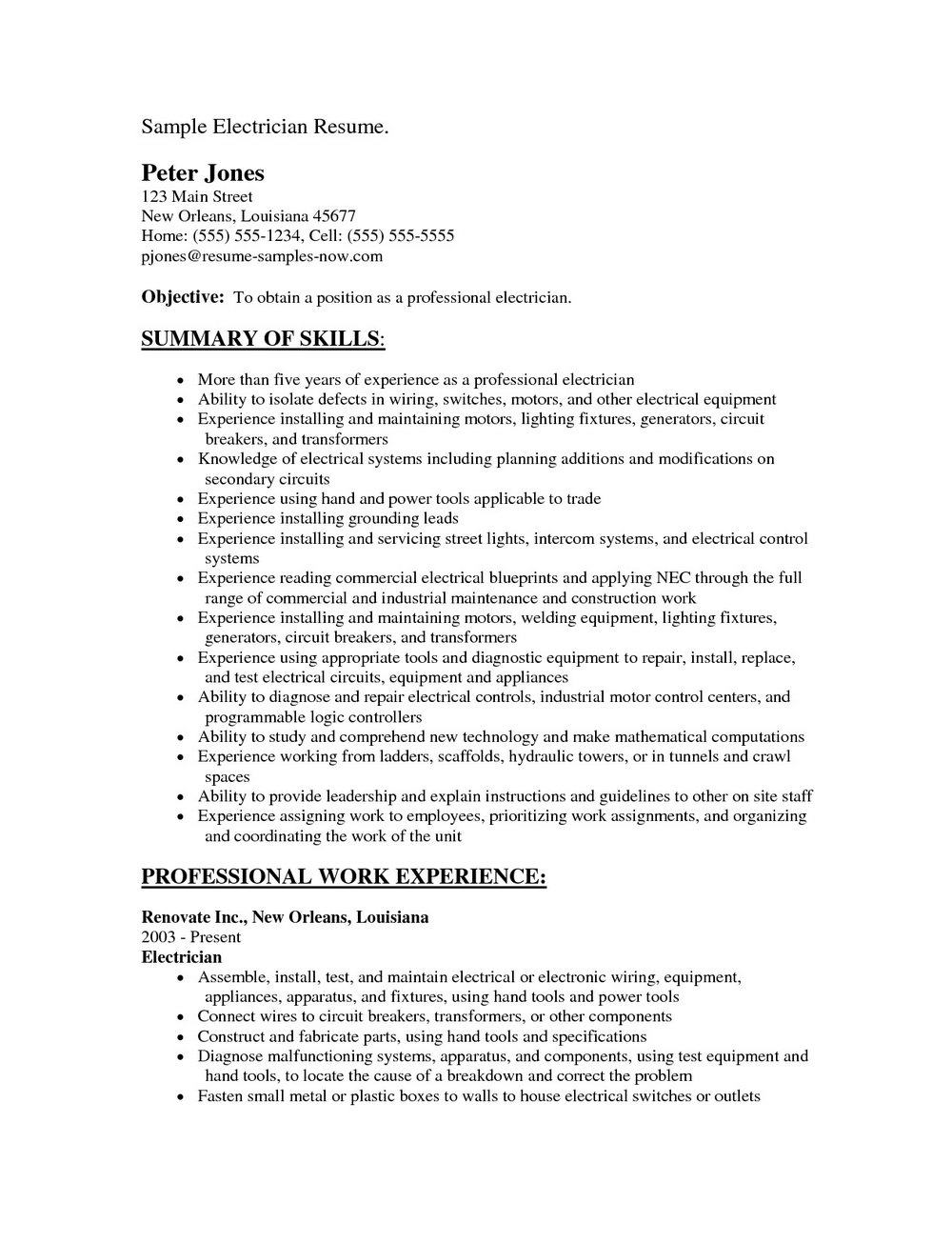 Resume Template For Electrician - Resumes #MjU4Mw | Resume ...