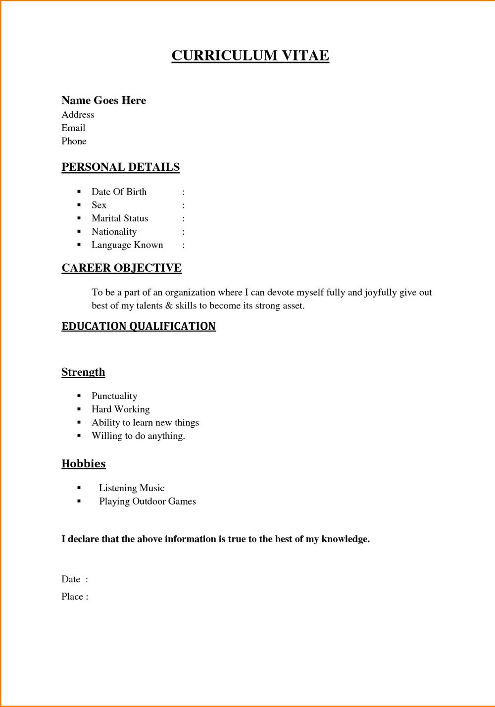 Simple Resume Format For Freshers Free Download