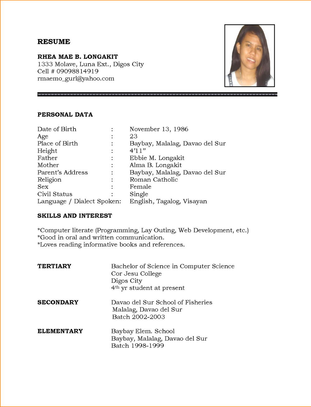 Simple Resume Format Free Download In Ms Word
