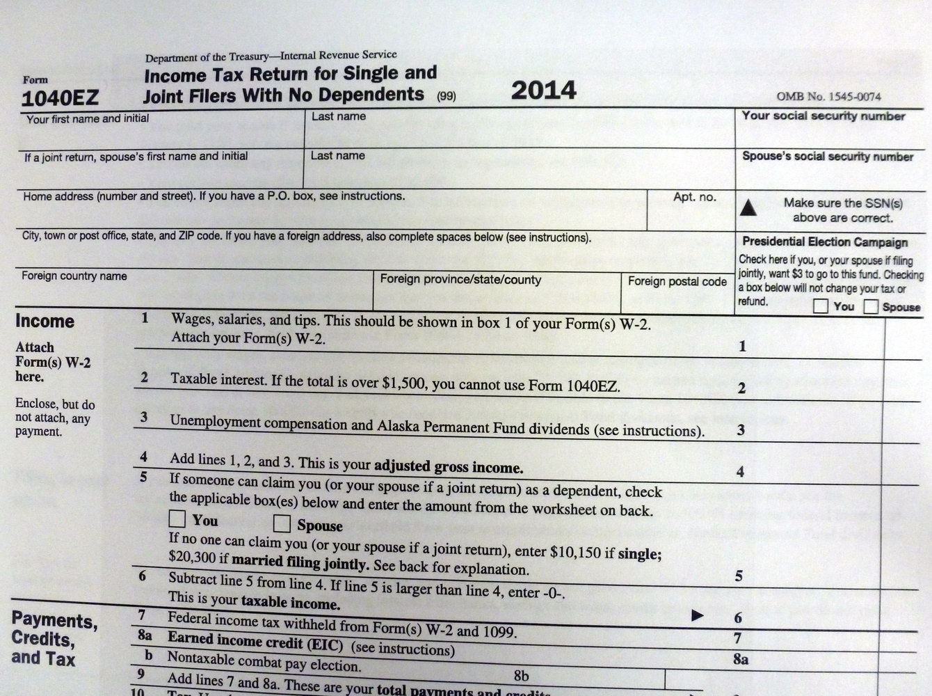 Tax Forms 1040a 2014