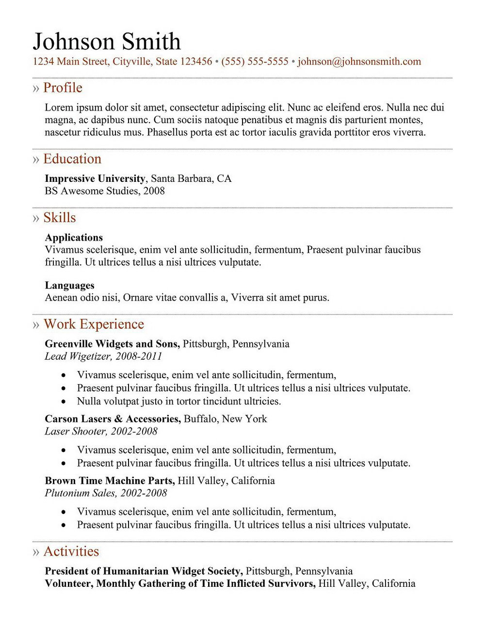 Templates For Professional Resumes