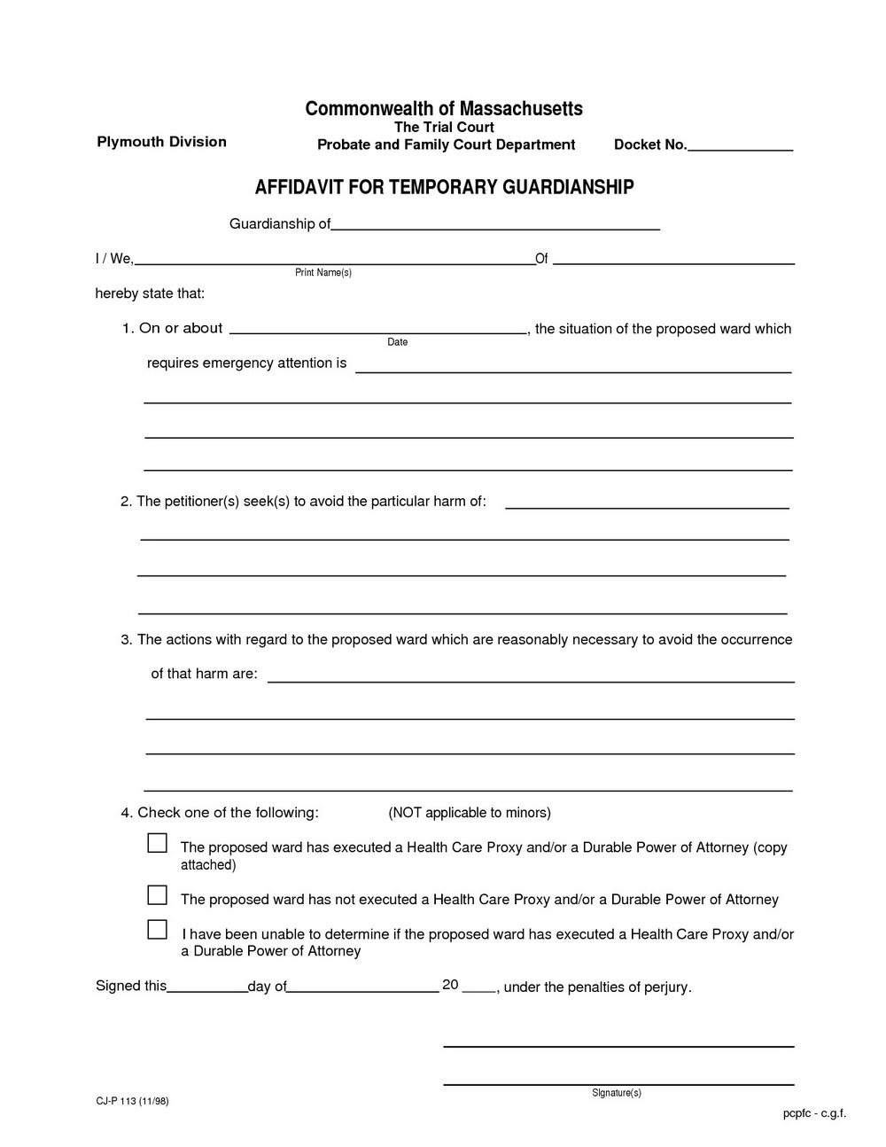 Temporary Guardianship Forms Arizona