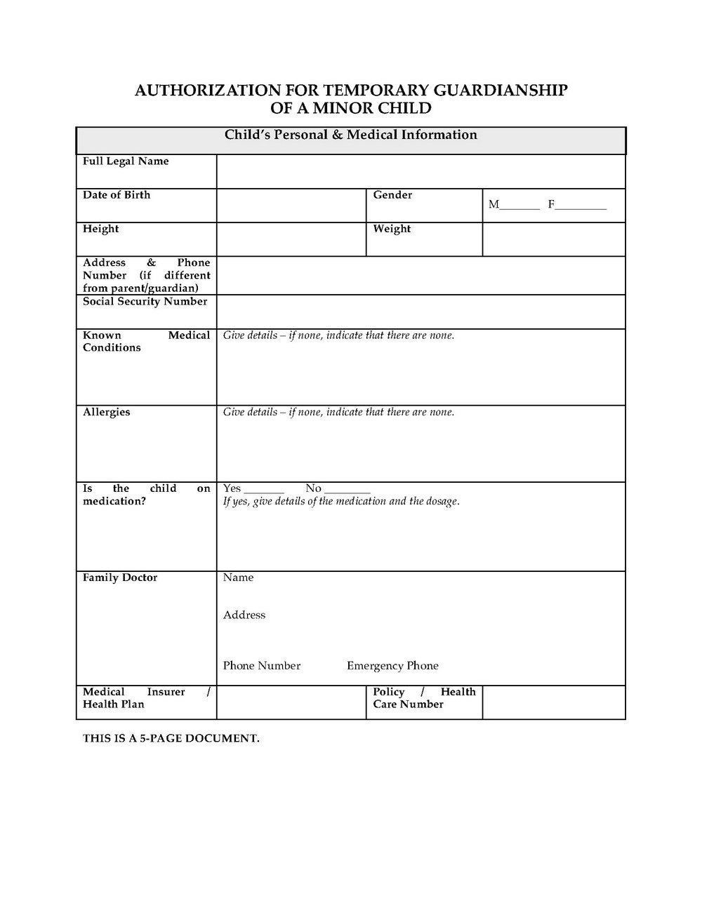 Temporary Guardianship Forms For School