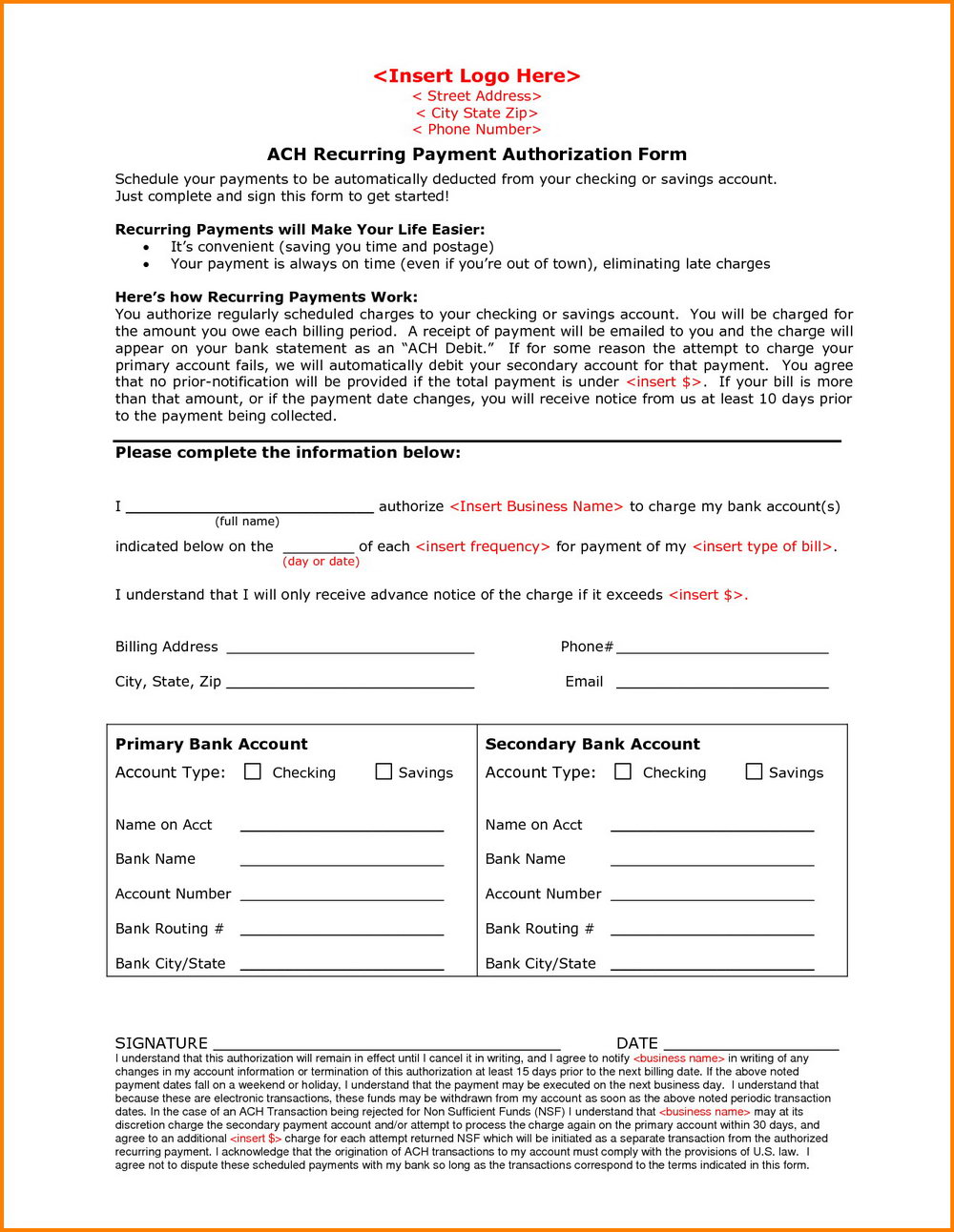 Ach Payment Authorization Form