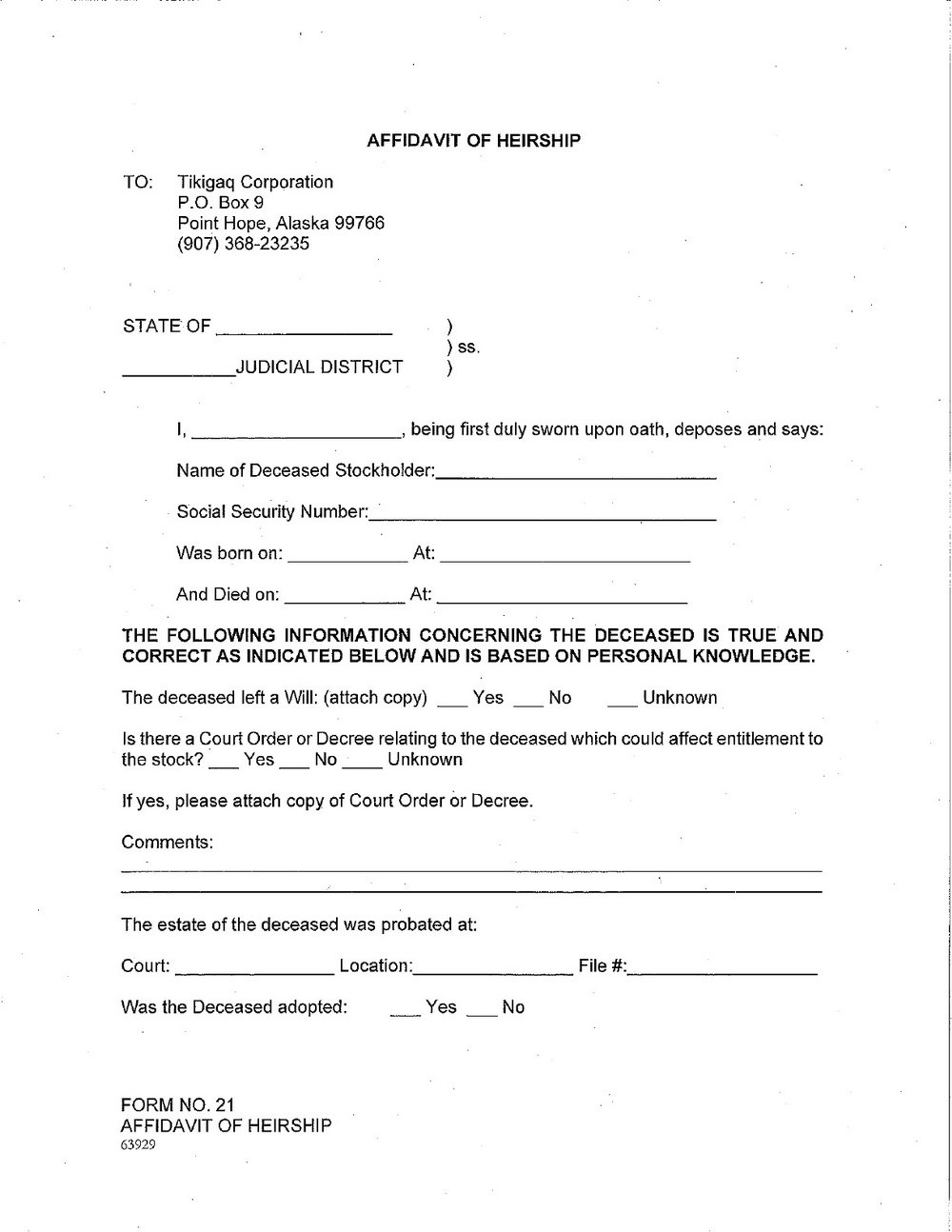 Affidavit Of Heirship Form