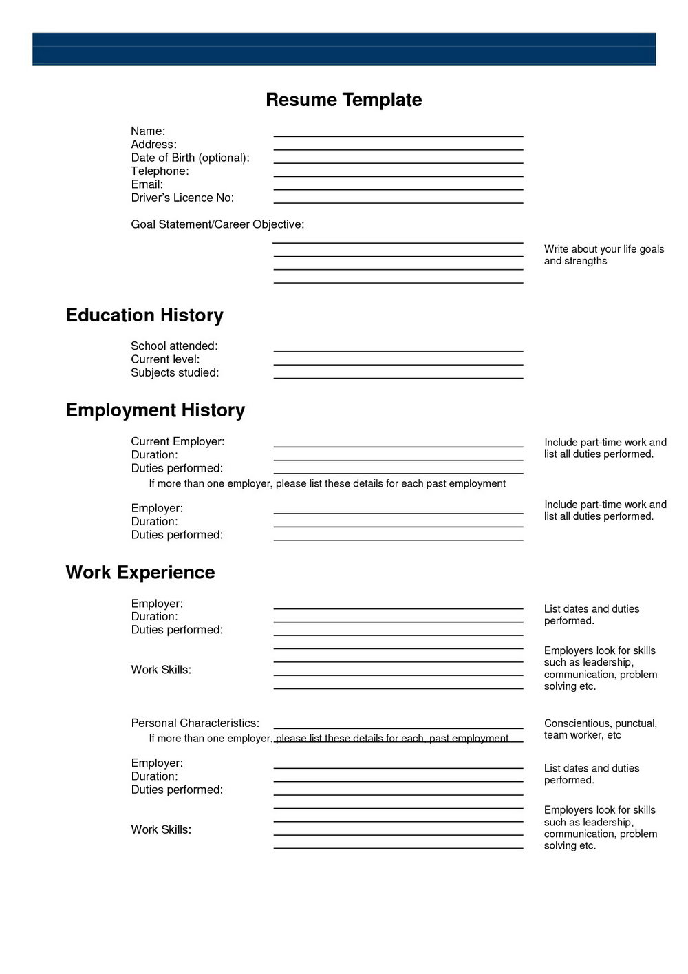 Blank Resume Form For Job Application Forms Njyynq